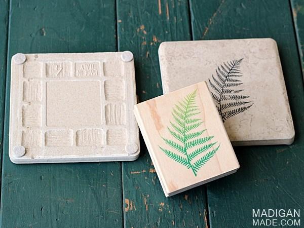 diy stamped tile coasters