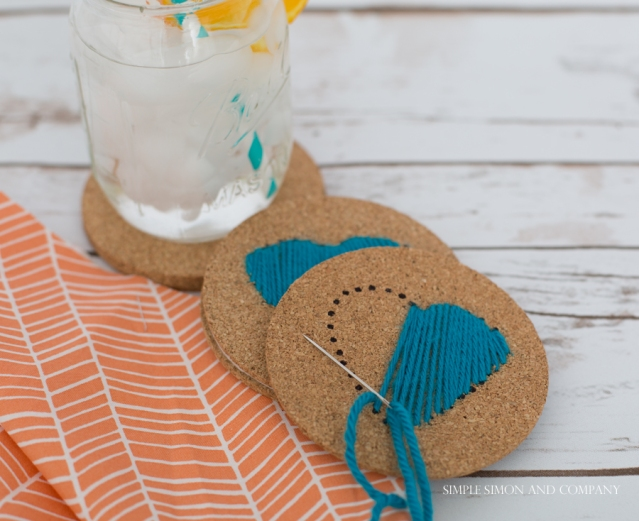 diy hand stitched coasters