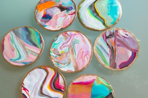 diy marbled clay coasters