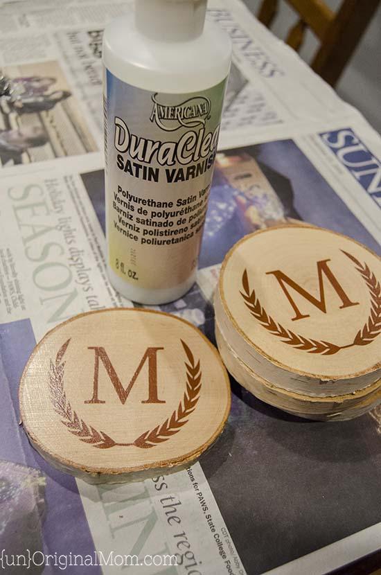 diy monogram wood coasters