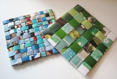 diy recycled magazine coasters