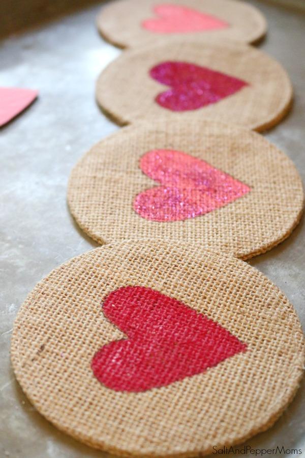 DIY burlap stencil heart coasters