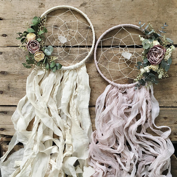 dried flower boho dreamcatcher