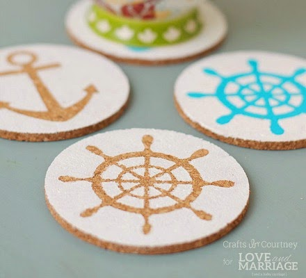 diy nautical stencil cork coasters