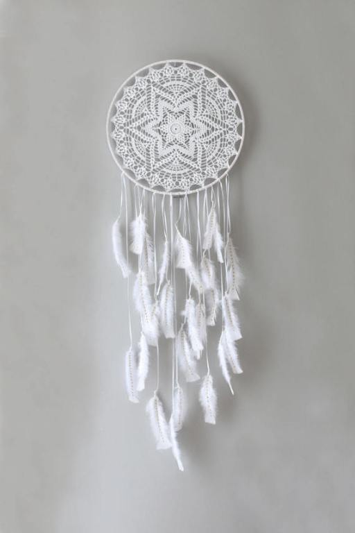 whimsical crochet feather dreamcatcher